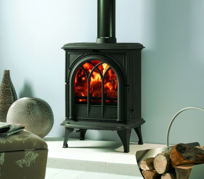 Stovax & Gazco Huntingdon 28 wood burning stove in matt black with tracery door