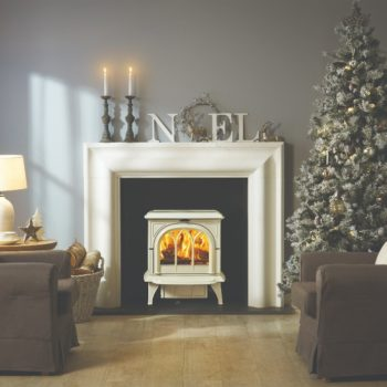 Stovax & Gazco Huntingdon 30 wood burning stove in ivory enamel with tracery door