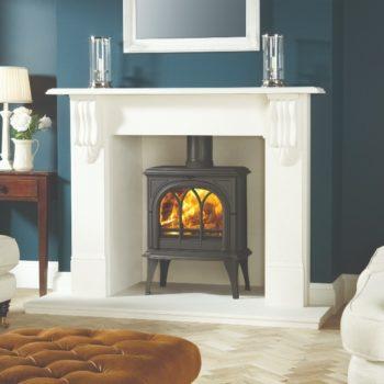 Stovax & Gazco Huntingdon 35 wood burning stove in matt black with tracery door