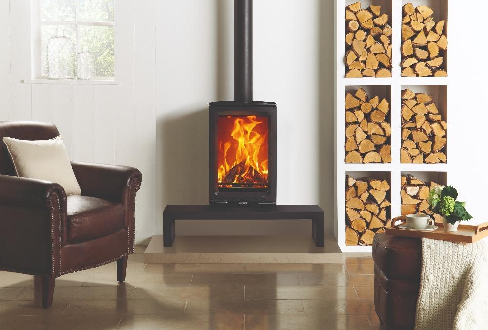 Stovax & Gazco Vogue Midi T wood burning stove with bench