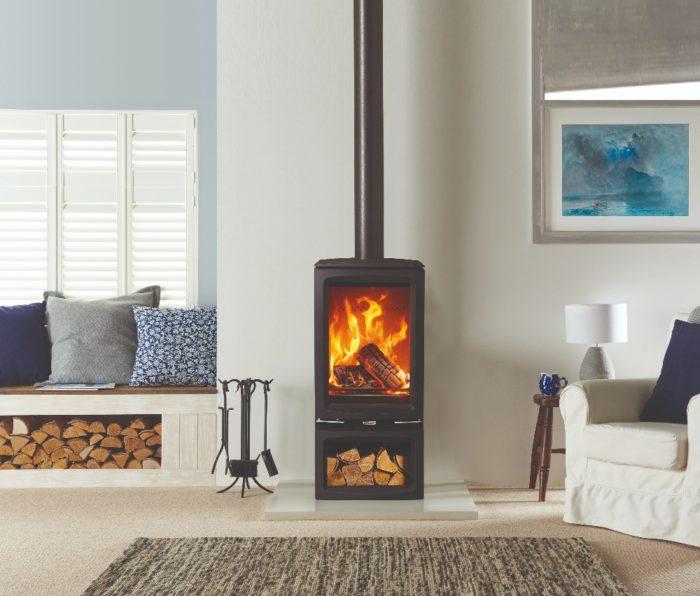 Stovax & Gazco Vogue Midi T wood burning stove with optional midline base