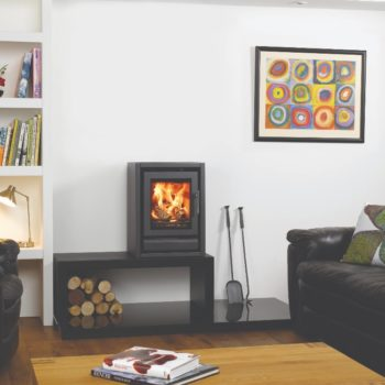 Stovax & Gazco Riva F40 Freestanding wood burning stove in metallic black on high bench