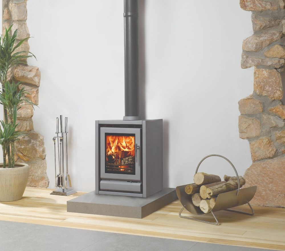 Stovax & Gazco Riva F40 Freestanding wood burning stove in storm metallic