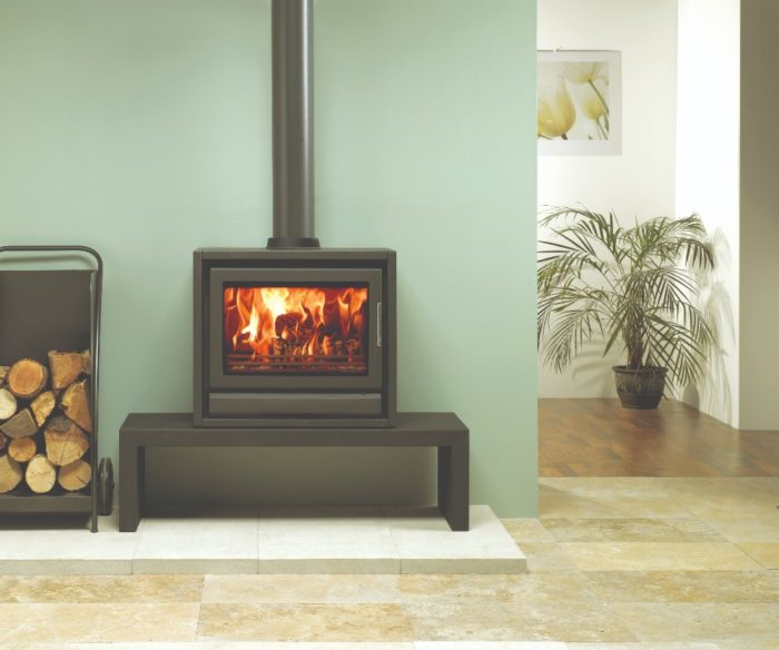 Stovax & Gazco Riva F66 Freestanding wood burning stove in metallic black on low bench