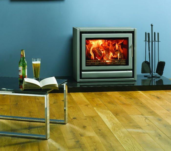 Stovax & Gazco Riva F66 Freestanding wood burning stove in storm metallic