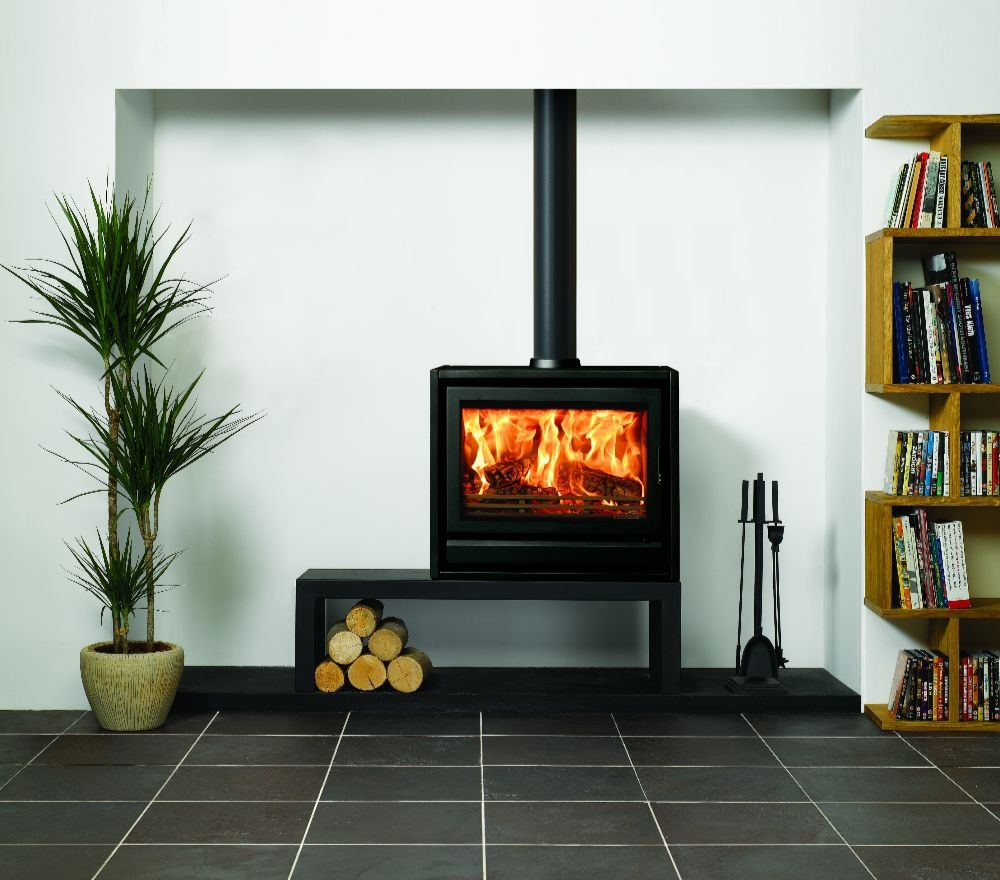 Stovax & Gazco Riva F76 Freestanding wood burning stove in metallic black with low bench