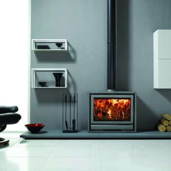 Stovax & Gazco Riva F76 Freestanding wood burning stove in storm metallic
