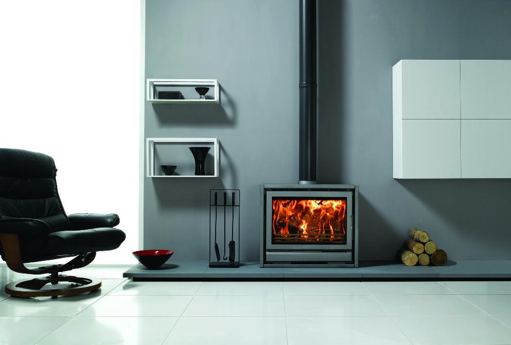 Stovax & Gazco Riva F76 Freestanding wood burning stove in storm metallic