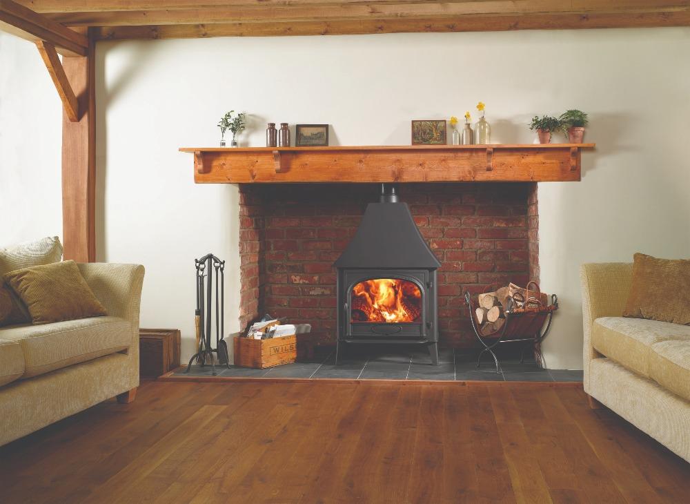 Stovax & Gazco Stockton 11 wood burning stove in matt black with high canopy and single door