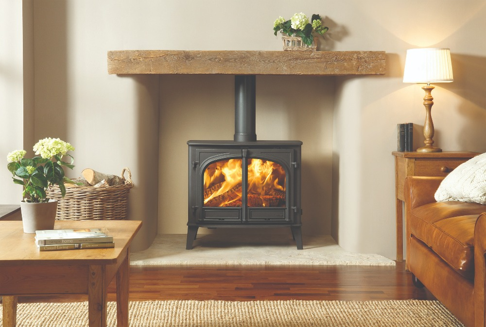 Stovax & Gazco Stockton 14 wood burning stove in matt black with flat top and two doors