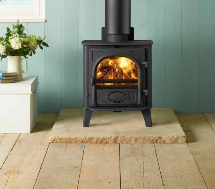 Stovax & Gazco Stockton 5 wood burning stove in matt black with flat top