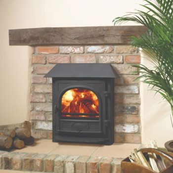 Stovax & Gazco Stockton 7 Inset Convector wood burning stove in matt black with canopy