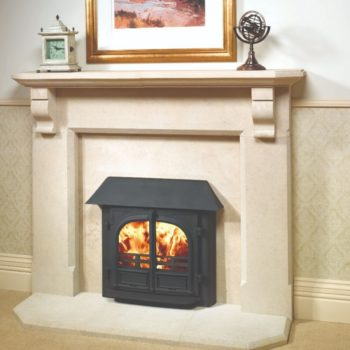 Stovax & Gazco Stockton 8 Inset Convector wood burning stove in matt black with canopy