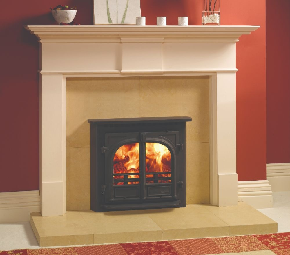 Stovax & Gazco Stockton 8 Inset Convector wood burning stove in matt black with flat top