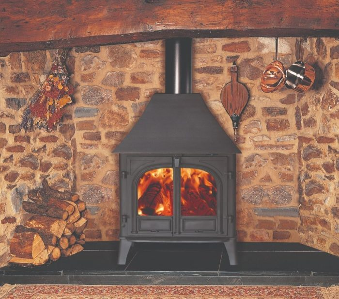 Stovax & Gazco Stockton 8 wood burning stove in matt black with high canopy and two doors