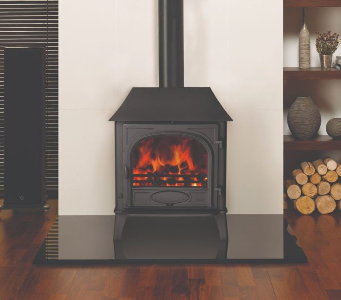 Stovax & Gazco Stockton 8 wood burning stove in matt black with low canopy and single door