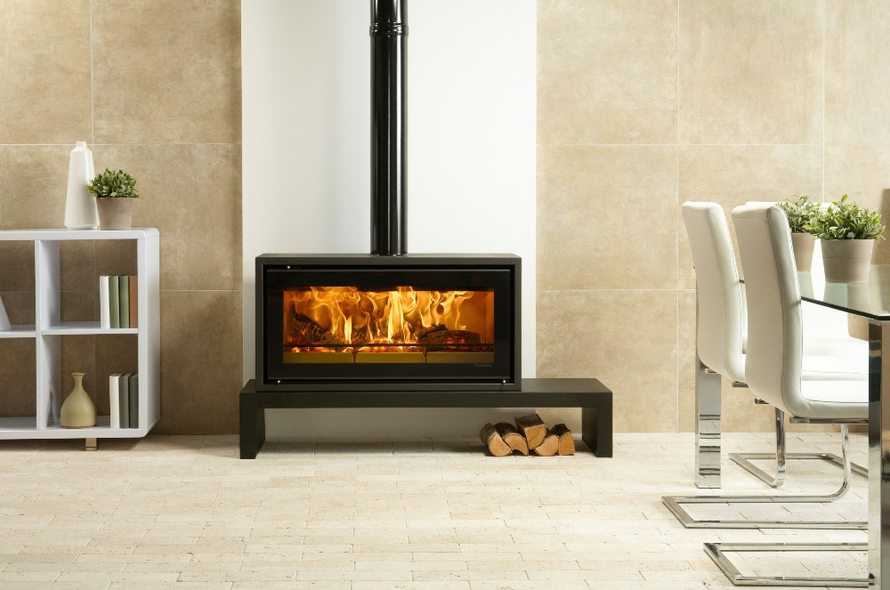 Stovax & Gazco Studio 2 Freestanding wood burning stove on low bench