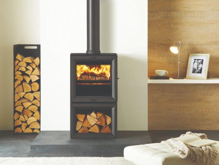 Stovax & Gazco View 5 wood burning stove with optional midline base