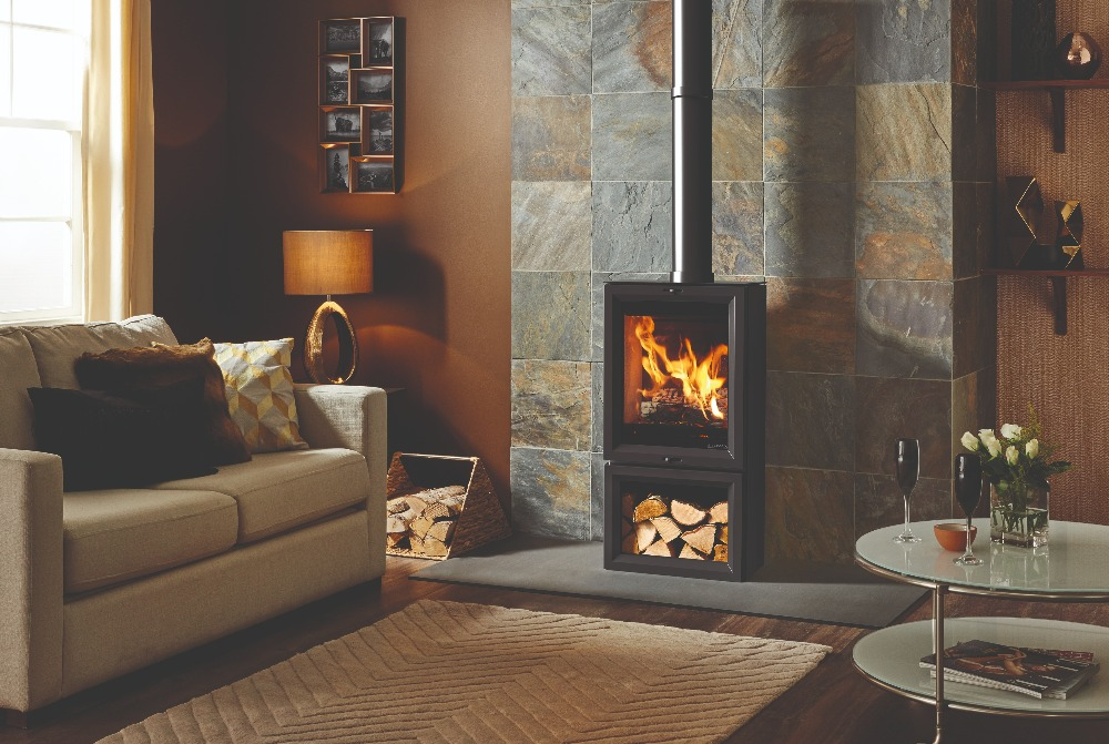 Stovax & Gazco View 5T wood burning stove with optional midline base