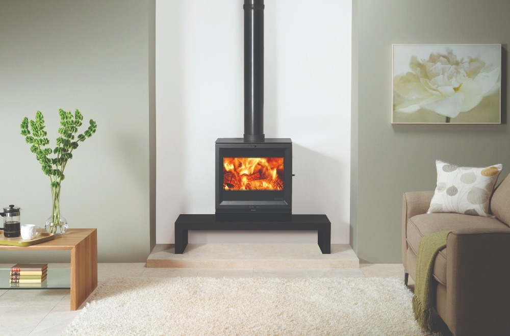 Stovax & Gazco View 8 wood burning stove on bench
