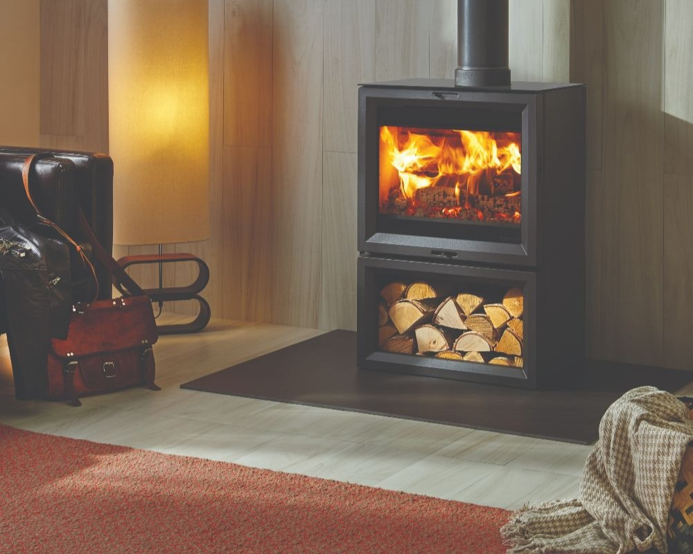 Stovax & Gazco View 8 wood burning stove with optional midline base