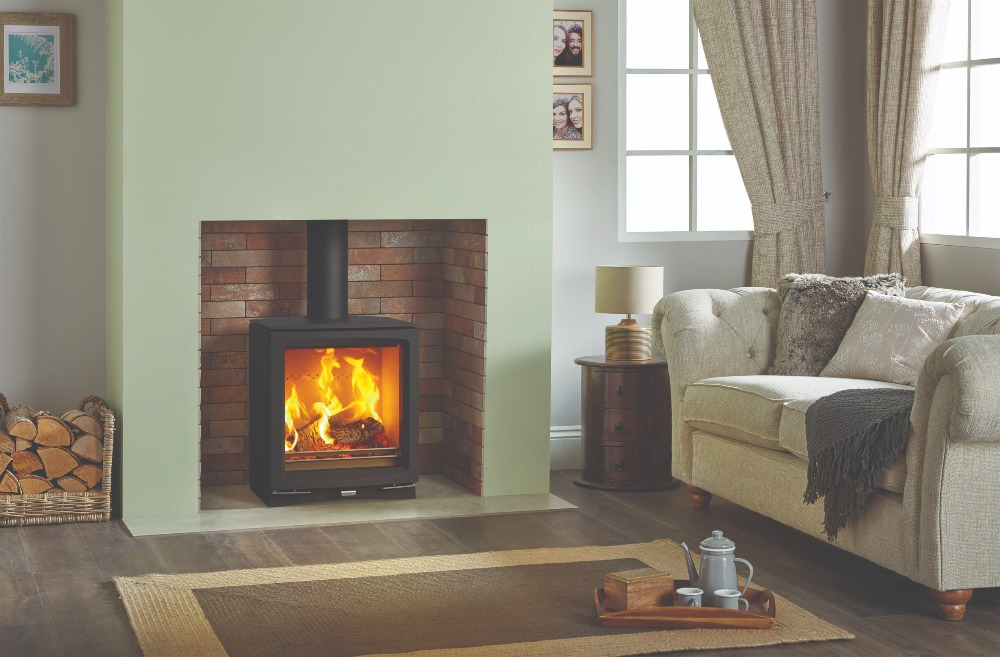 Stovax & Gazco Vogue Medium wood burning stove with plinth