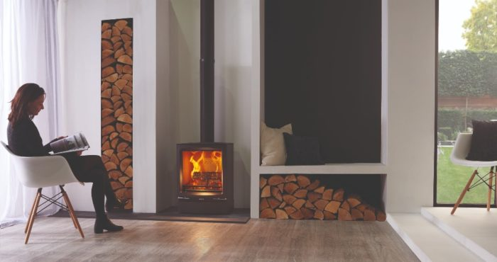 Stovax & Gazco Vogue Midi wood burning stove with plinth