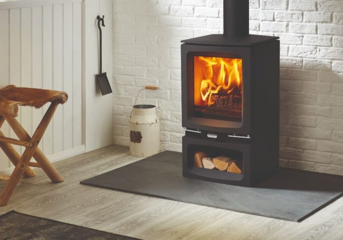 Stovax & Gazco Vogue Small wood burning stove with optional midline base