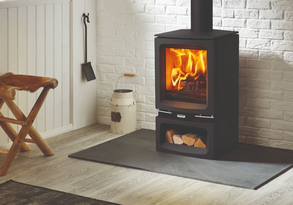 Stovax & Gazco Vogue Small wood burning stove with optional midline base