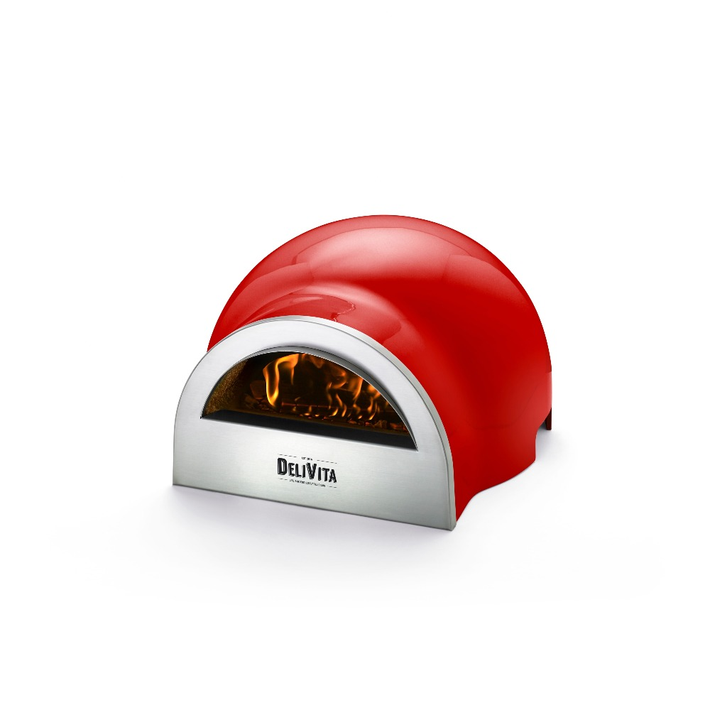 Delivita wood-fired pizza oven in Chilli Red