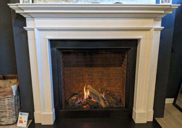 Chesneys Burlington fireplace with Stovax & Gazco Reflex 75T Edge gas fire with brick effect lining