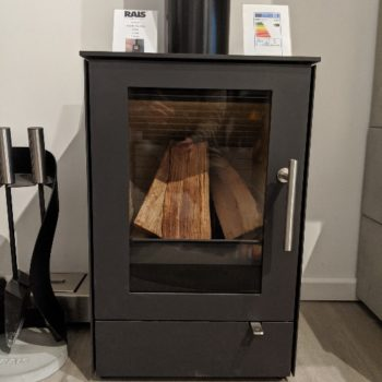 RAIS Q-Tee 65 wood burning stove in showroom