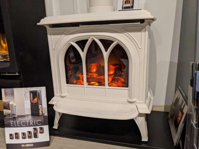 Stovax & Gazco Huntingdon 30 matt black electric stove with tracery door in showroom
