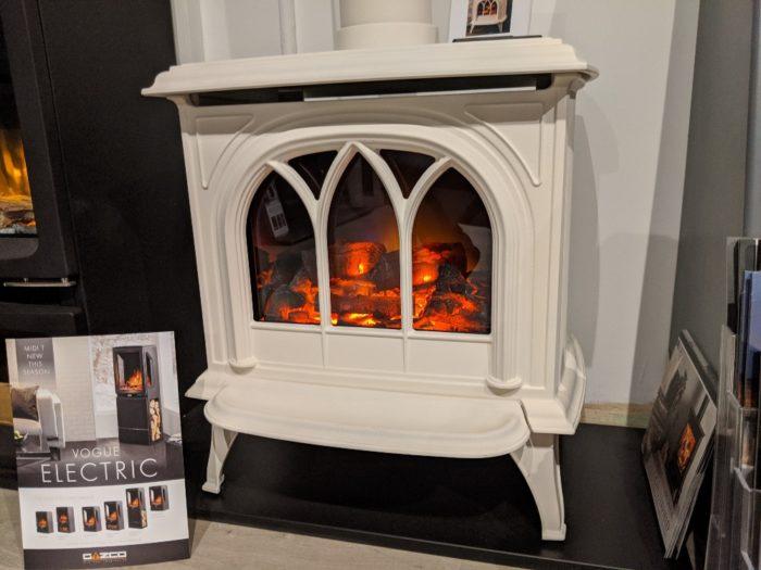 Stovax & Gazco Huntingdon 30 matt black electric stove with tracery door in showroom