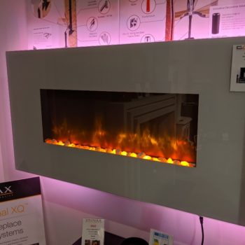 Stovax & Gazco Radiance 80W White Glass electric fire in showroom
