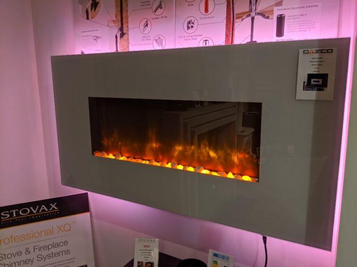 Stovax & Gazco Radiance 80W White Glass electric fire in showroom