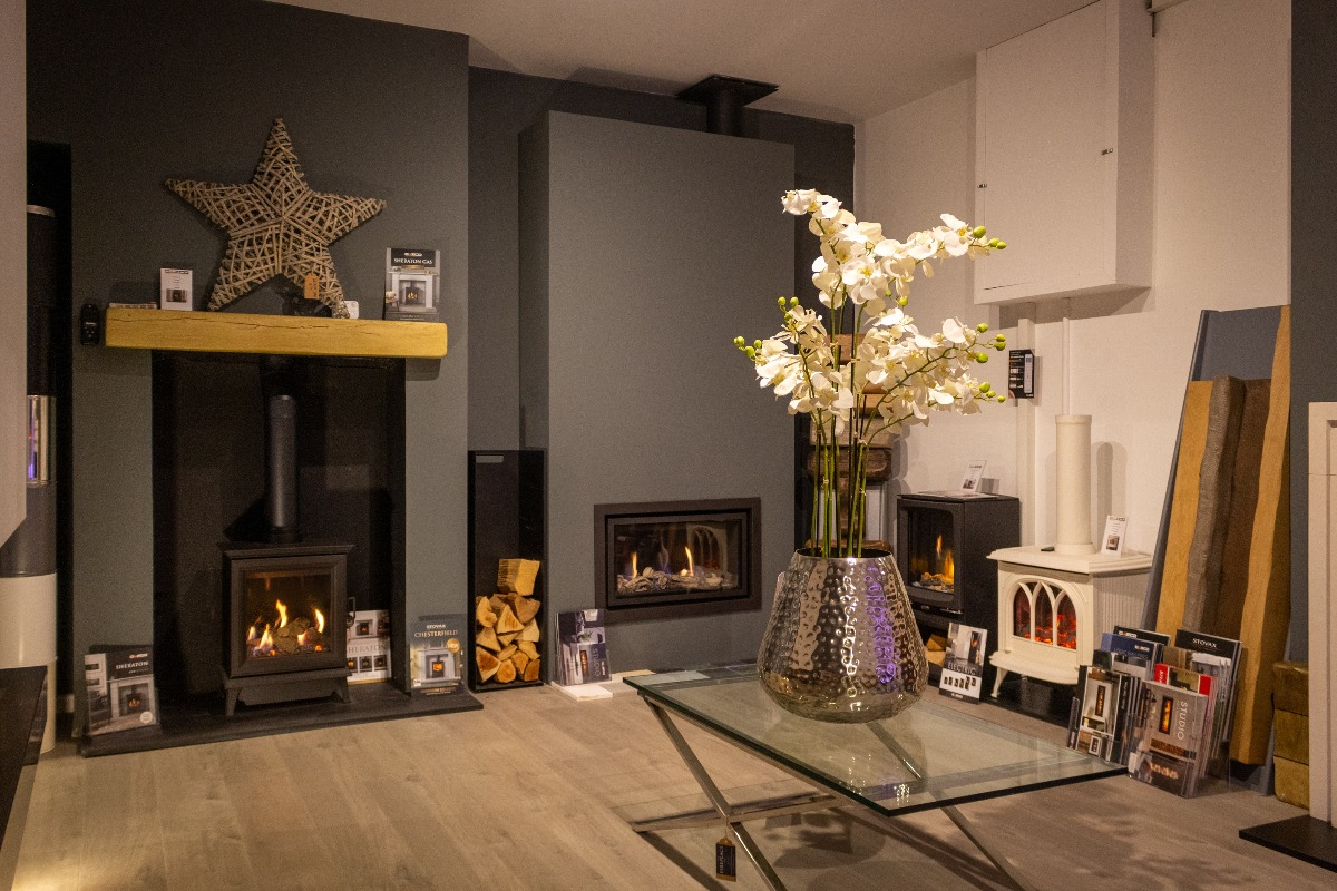 The Fireplace Company Crowborough showroom interior ajoining room 1