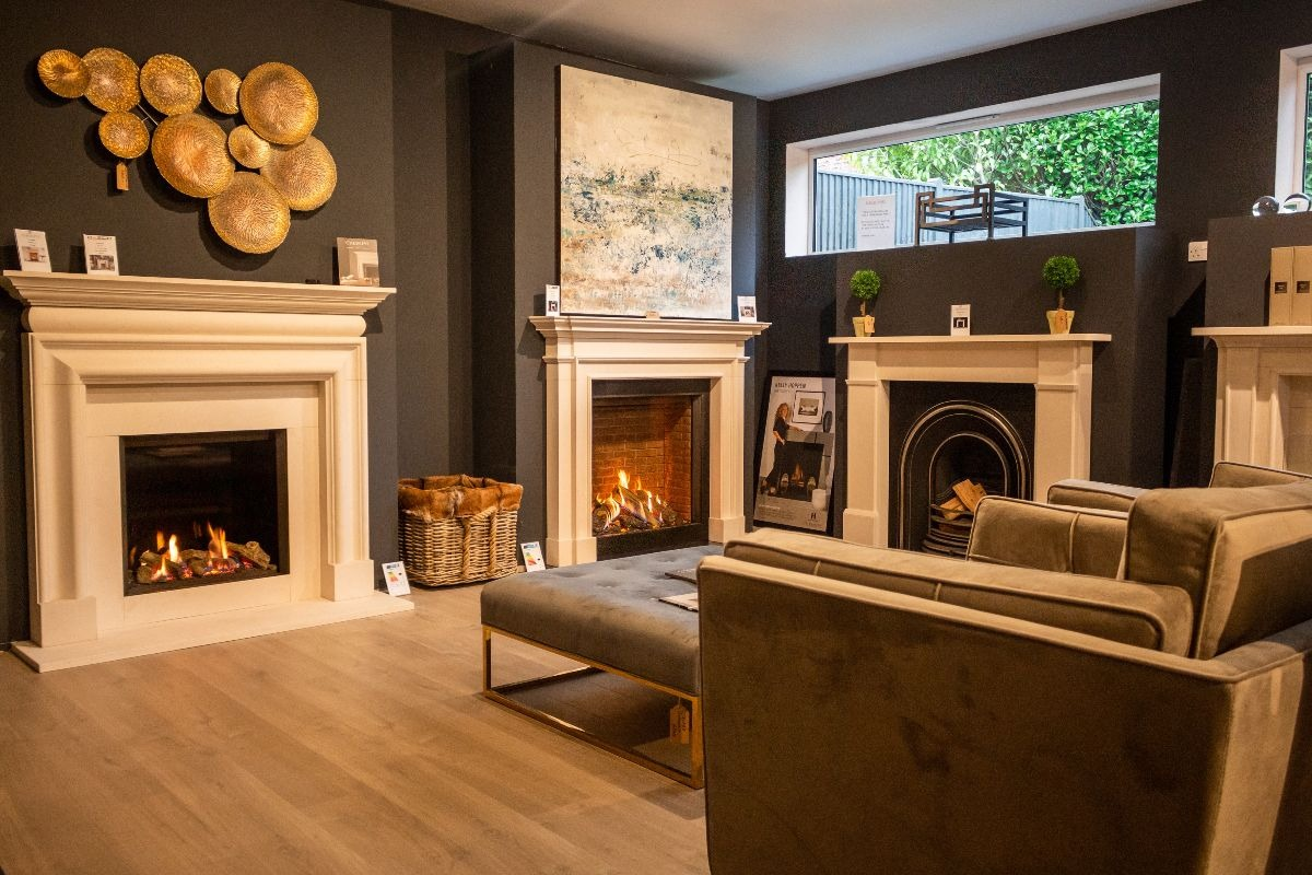 The Fireplace Company Crowborough showroom interior back room 1