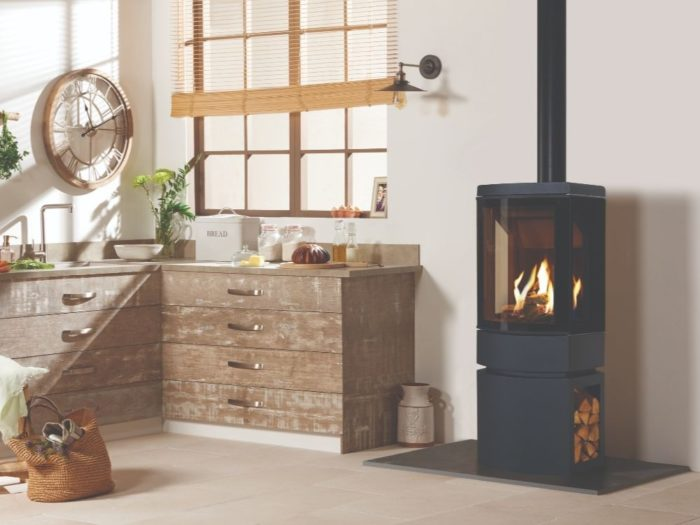 Stovax & Gazco Loft gas stove with steel log store