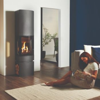 Stovax & Gazco Loft gas stove with steel log store and top section