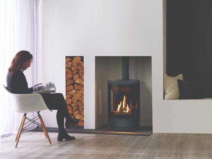 Stovax & Gazco Loft gas stove with steel plinth