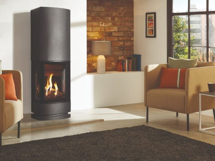 Stovax & Gazco Loft gas stove with steel plinth and top section