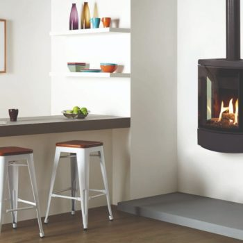 Stovax & Gazco Loft wall mounted gas stove with decorative flue