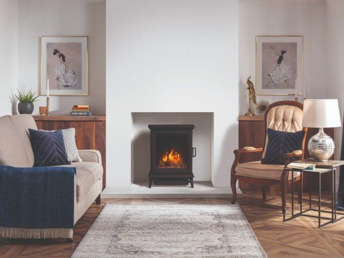 Stovax & Gazco Sheraton 5 electric stove, log pebble effect, amber flame