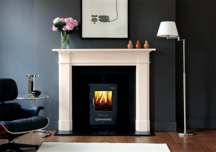 Chesneys Devonshire fireplace with Alpine 6 series multi-fuel stove in Atlantic Blue