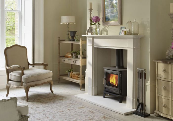 Chesneys Salisbury 5WS series wood burning stove in Black Anthracite with the Devonshire fireplace