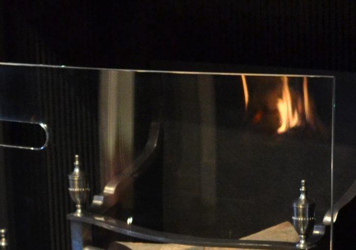 Chesneys Curved Glass fire screen detail 2