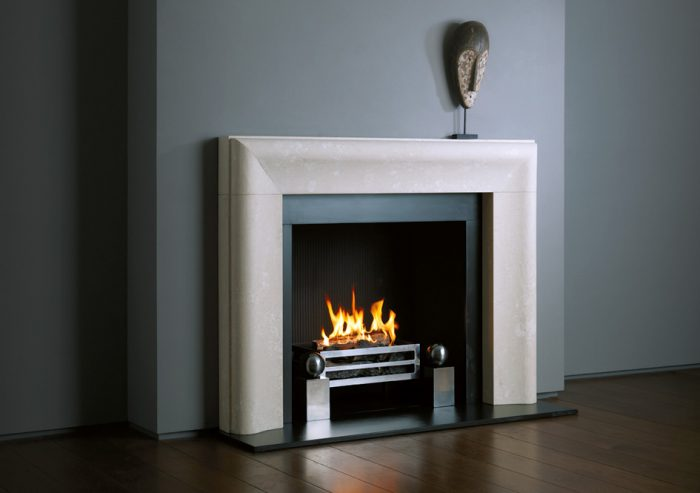 Chesneys Chelsea fireplace with Soho fire basket for dogs and Spherical Steel fire dogs