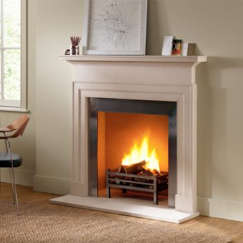 Chesneys Dakota fireplace with Soho freestanding fire basket