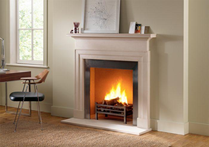 Chesneys Dakota fireplace with Soho freestanding fire basket